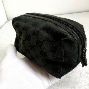 Gucci Black Denim Canvas Guccissima Cosmetic Bag